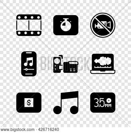 Set Play Video, Stopwatch, Prohibition No Recording, Media Button, Music Note, Tone, Audio Jack, Pla