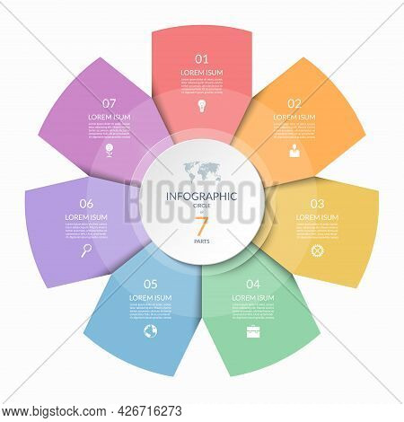 Infographic Circle, Process Chart, Cycle Diagram With 7 Steps, Parts. Seven-step Vector Template For
