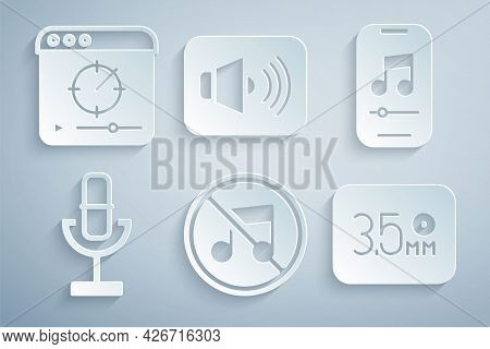 Set Speaker Mute, Music Player, Microphone, Audio Jack, Volume And Online Video Icon. Vector