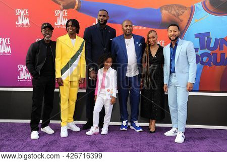 Don Cheadle, Ceyair Wright, LeBron James, Harper Leigh Alexander, Malcolm D. Lee, Sonequa Martin-Green, and John Legend at the Los Angeles premiere of 'Space Jam: A New Legacy' held at the Regal LA