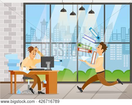 Business Man Works With Computer In Office To Finish Task Before Deadline. Worker Running With Data