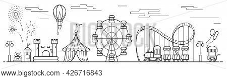 Panorama Of An Amusement Park With A Ferris Wheel, Circus, Rides, Balloon, Bouncy Castle. Landscape
