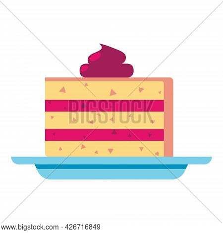 Piece Of Cake On Plate. Sweet Biscuit Dessert. Flat Style Illustration Isolated On White Background.