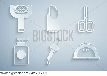 Set Pipette With Oil, Nail Scissors, Tube Of Hand Cream, Manicure Lamp, Broken Nail And File Icon. V