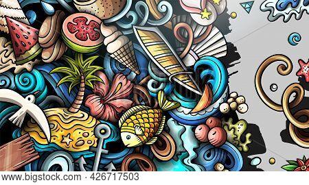 Summer Beach Hand Drawn Doodle Banner. Cartoon Vector Detailed Flyer.