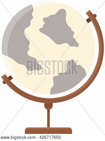 Earth Globe With World Map Isolated On White Background. Flat Planet Earth Icon Vector Illustration