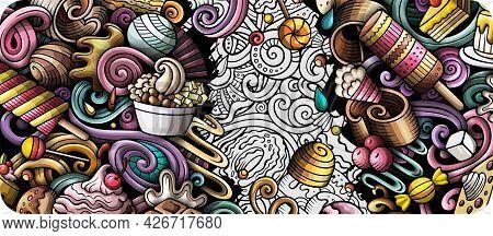 Desserts Hand Drawn Doodle Banner. Cartoon Vector Detailed Flyer.