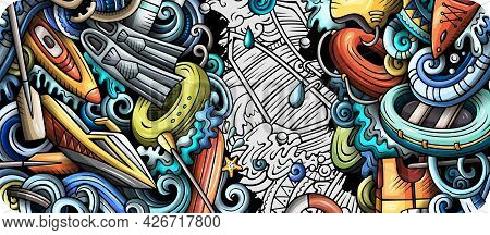 Water Sports Hand Drawn Doodle Banner. Cartoon Vector Detailed Flyer.