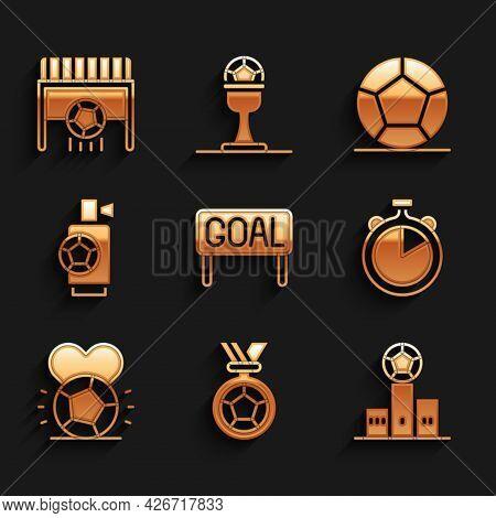 Set Goal Soccer Football, Football Or Medal, Award Over Sports Winner Podium, Stopwatch, Soccer, Air