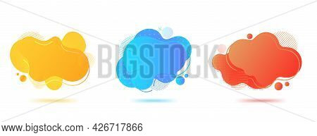 Fluid Abstract Vector Banners. Set Of Geometric Liquid Forms. Gradient Elements For Flyer, Brochure