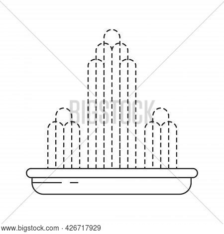 Abstract Fountain. Decorative Fountain. Cascade And Water Splash. Vector Flat Line Illustration.