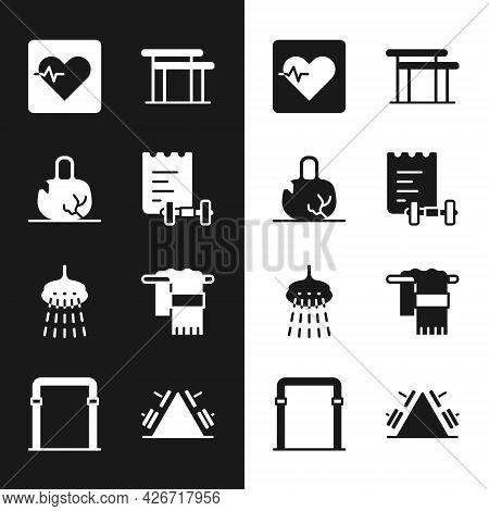 Set Sport Training Program, Broken Weight, Heart Rate, Uneven Bars, Shower, Towel On Hanger, Metal R