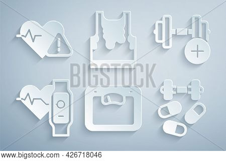 Set Bathroom Scales, Dumbbell, Smart Watch With Heart, Sports Doping Dumbbell, Sweaty Sleeveless T-s