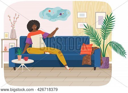Woman Lying On Sofa In Apartment. Happy Young Girl Relaxing, Dreaming. Rest On Couch And Think About