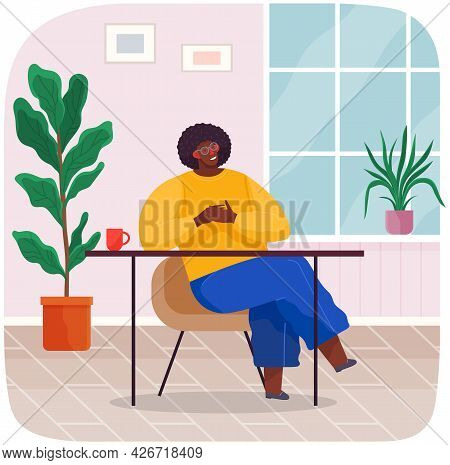 Businessman Sitting On Chair At Table With Coffee Cup At Home Or Restaurant Drinking Tea. Office Emp