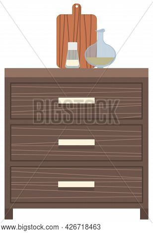 Wooden Light Brown Chest Of Drawers. Furniture Made Of Natural Materials. Dark Chest Of Drawers With