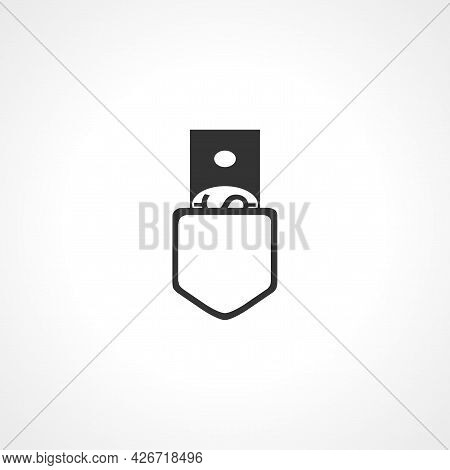 Dollar In Pocket Icon. Dollar In Pocket Isolated Simple Vector Icon