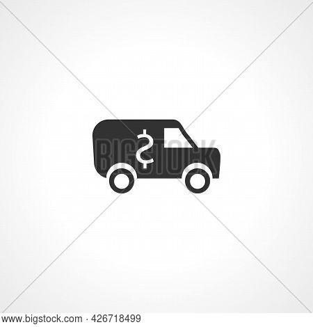 Cash Transit Van Icon. Bank Van Isolated Simple Vector Icon