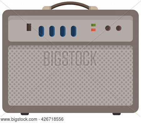 Iron Radio With Colorful Buttons. Device For Listening To Audio And Songs. Receiver To Play Sound. D