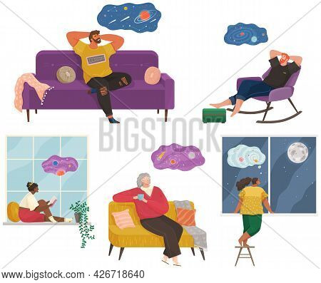 People Thinking Or Making Decision Set, Young Man And Woman Thinking Of Something Vector Illustratio