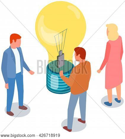 People Near Idea Symbol In Form Of Lightbulb. Colleagues Communicate And Discuss Startup. Men And Wo