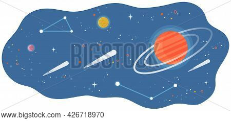 Solar System Of Planets With Large And Small Celestial Bodies Flying In Space. Colored Spheres And M