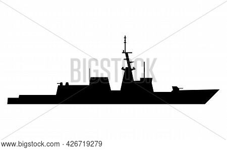Silhouette Of A Large Warship On A White Background. Eps10.