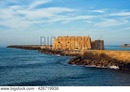 Venetian Fort castle in Heraklion, Crete Island, Greece on sunset