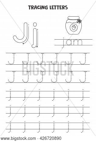 Trace Letters Of English Alphabet. Uppercase And Lowercase J. Handwriting Practice For Preschool Kid