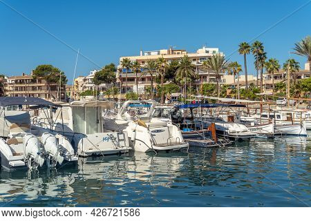 Colonia De Sant Jordi, Spain; July 02 2021: Pleasure Boats And Yachts Moored On The Mediterranean Co