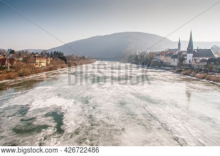 Rare Occurrence Of Ice In The River Neckar At Neckargemuend Germany On A Cold Winter Day