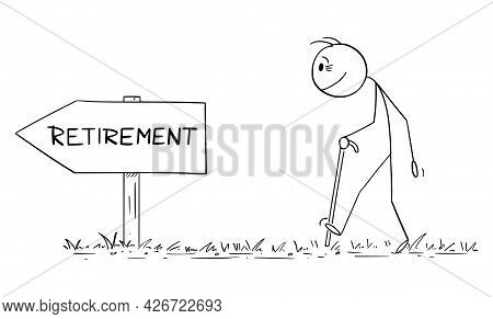 Old Age Worker With Walking Stick Following Retirement Arrow Sign Direction, Vector Cartoon Stick Fi