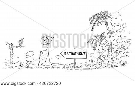 Old Age Senior Worker Walking To Retirement Leaving Life In Paradise For Life In Desert, Vector Cart