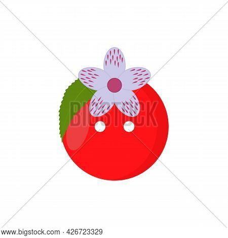 Decorative Berry Button Design For Clothing And Craft With Two Holes. Cherry Shaped Vector Illustrat