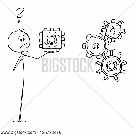Person Or Businessman Holding Square Cog Wheel And Thinking About Problem, Vector Cartoon Stick Figu