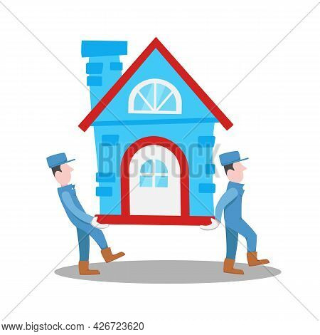 Moving House Home Work With Moving And Relocating Worker Company Illustration