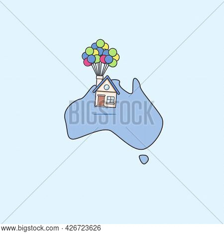 Moving Or Relocating House Service Anywhere In Australia Continent Map Illustration