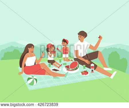 Family Eating Fruits In Nature. Happy Man, Woman And Children Rest Together In Privacy. The Family I