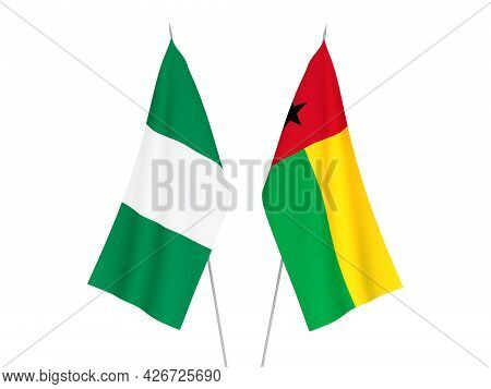 National Fabric Flags Of Nigeria And Republic Of Guinea Bissau Isolated On White Background. 3d Rend