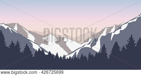 Wanderlust Snowy Mountains And Forest Blue Winter Landscape