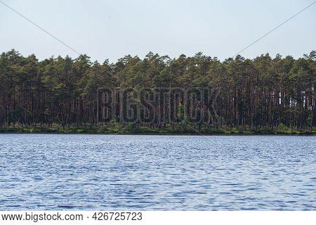 Beautiful Lake Overlooking The Forest.beautiful Landscape Of Lake.