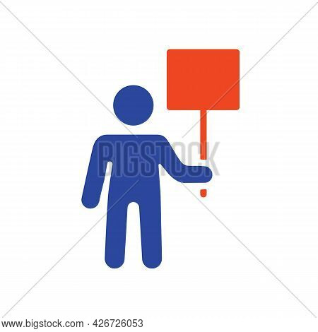 Man Standing And Holding In Hands Big Sign, Banner, Card Vector Glyph Icon. Demonstration, Manifesta