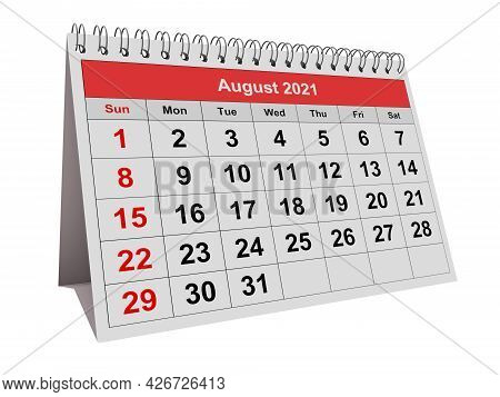 August 2021 - One Page Of The Annual Monthly Calendar. 3d Rendering