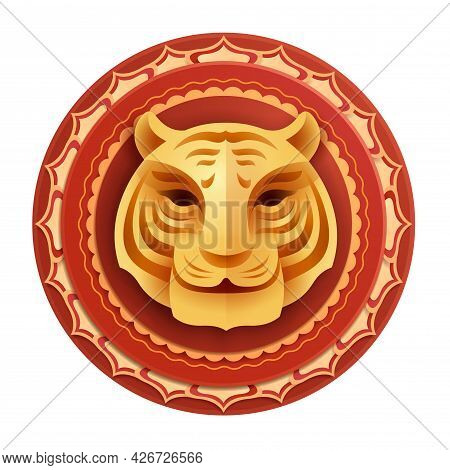 Oriental Paper Graphic Craft Art Of Golden Tiger Symbol On Circle Layers Border. Isolated.