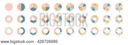 Wheel Round Diagram Part Symbol. Pie Chart Color Icons. Segment Slice Sign. Circle Section Graph. 10
