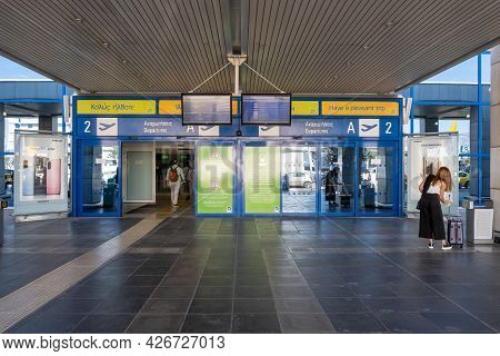 Athens, Greece - October 1, 2020: Building Of The Athens International Airport, Greeceathens, Greece