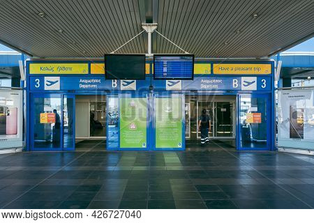 Athens, Greece - October 1, 2020: Entrance To The Athens International Airport, Greece.