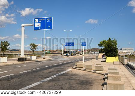 Athens, Greece - October 1, 2020: Road To Athens From The Athens Airport