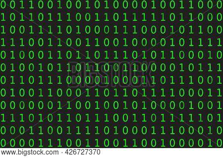 Program Datum Background. Green Programming Binary Coding. Matrix Vector Illustration
