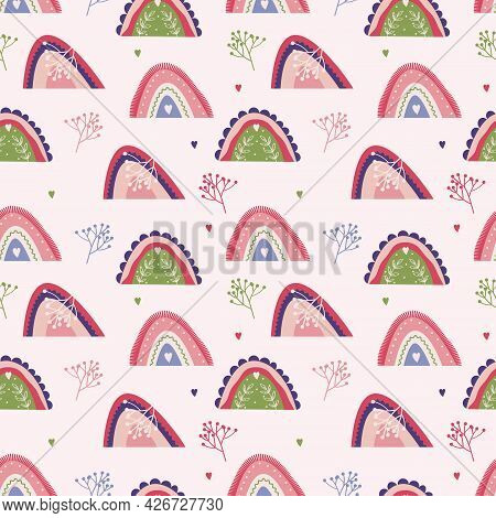 Seamless With Abstract Rainbow. Nursery Multicolor Pattern In Pink, Green Colors. Geometric Ornament